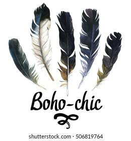 Illustration with different sketch feathers. Boho style. Hand drawn watercolor set on white background. Hippie design elements.