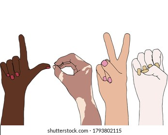 Illustration of different skin people raising their hands for equality. Anti-racism concept