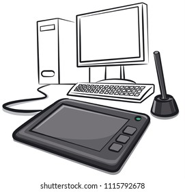 illustration of digital graphics tablet with computer