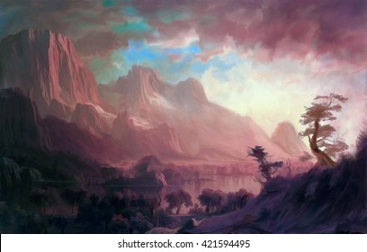 Illustration of digital painting, landscape where it is observed big mountains, rocks and trees  with a lake in the center and a sky of many clouds concept with fantasy