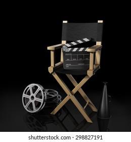 Illustration of director chair, and over filmmaker equipment, over black background.