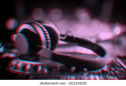 Illustration of DJ headphones edited with 3d stereo effect.Professional disc jockey headset with anaglyph filter.Play and listen to the music with headphone equipment on stage