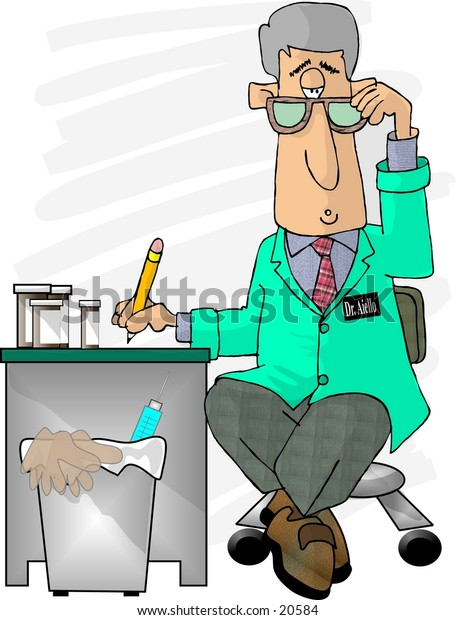 Illustration of a Doctor seated at his desk writing a prescription.
