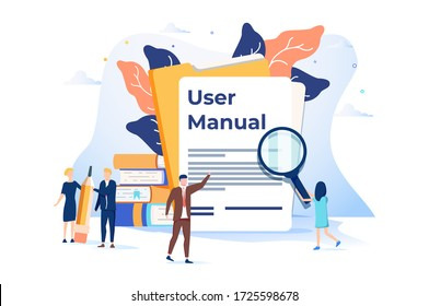 Illustration, Document specification requirements, Instructions for use flat style concept. Expertise guidance information, instructions online, manager software user manual. How to use