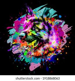 Illustration eines Hundes mit bunten Schmutzspritzen