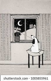 illustration with dog looking in the window black and white