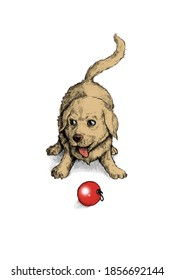 an illustration of a dog playing with a christmas ball