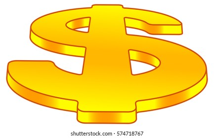 Illustration of the dollar symbol on perspective view