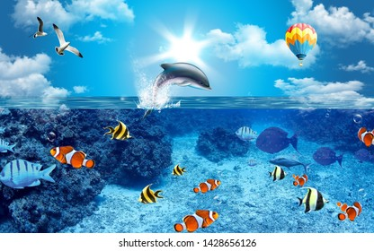 Illustration of dolphin ove blue sea water and colorful fish underwater decorative background 3D wallpaper. Graphical poster modern art