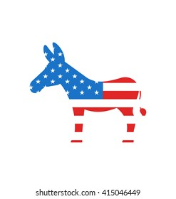 Illustration Donkey as a Symbol of American Democrats, Isolated on White Background. American Vote 2016 - raster