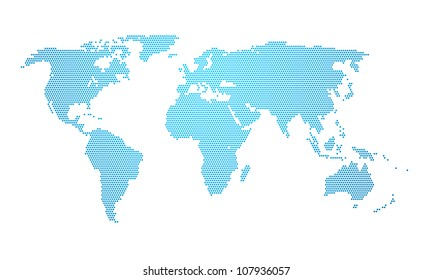 An illustration of a dotted earth map