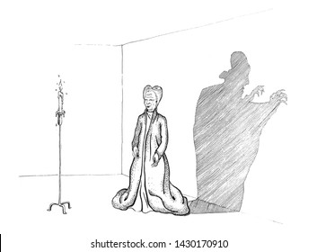 illustration of Dracula playing with his shadow, inspired to Francis Ford Coppola character, inspired to Nosferatu movie,very graphic outline, funny cartoon for print