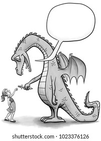 An illustration of a dragon handing a sword to a girl.  An empty speech bubble points to the dragon.