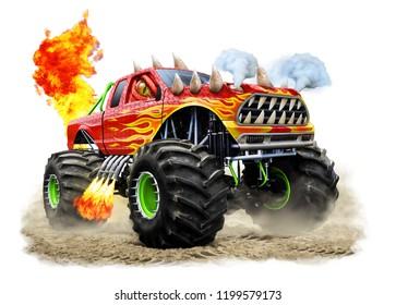Illustration of a Dragon Monster Truck