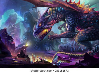 Illustration: The Dragon Planet - The danger dragon is drinking the energy generated by gem stone and crystal. Never touch the treasure in his planet, he will kill you. - Scene Design. Fantastic Style