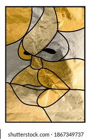 Illustration, drawing of an abstract mosaic face, with black outline and golden texture with different shades, silver gold and copper.