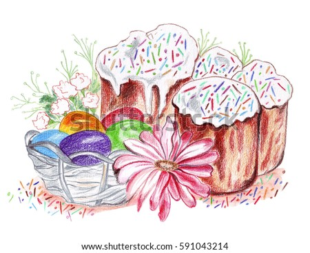 Illustration Drawing Colored Eggs Easter Cakes Stock Illustration