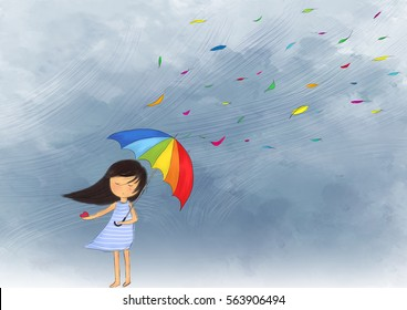 illustration drawing of crying girl holding broken heart & colorful umbrella standing in the heavy rain. Dark sky wallpaper background painting. Idea of lonely, miserable, sad design template