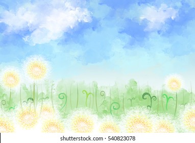 illustration drawing of dandelion meadow field with green grass over blue sky white clouds. brush water color canvas painting. Idea of nature, dream land, environment background wallpaper template