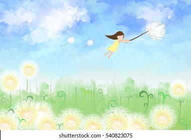 desenho ilustração da menina segurando dente-de-leão voando no céu com campo prado grama verde.Escova pintura de lona cor da água. Ideia de natureza, terra dos sonhos, liberdade de fundo wallpaper modelo