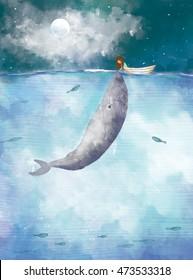 desenho ilustração de menina selando com baleia no oceano lua cheia céu luz.