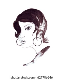 Illustration of drawing an ink portrait of a fashionable girl with accessories