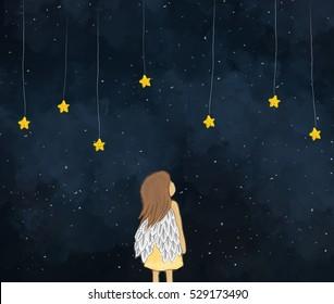 desenho ilustração de um anjo menina olhando para estrelas amarelas penduradas na noite estrelada. Bonito rosto de estrelas. céu escuro noite tempo fundo projeto modelo de papel de parede. Ideia de sonhar, fantasia