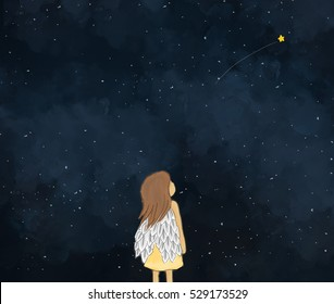 illustration drawing of a little girl angel looking at shooting star in starry night.Dark sky night time background wallpaper template design. Idea of dreaming, fantasy, making wishes