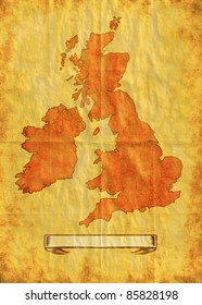 illustration drawing of a map of the British Isles showing Northern Ireland,Ireland,Wales,Scotland and England with grunge texture background