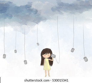 illustration drawing of sad lonely girl standing listening to cup hanging with string from sky. Painting of water color graphic sky. Idea of art, listening, imagination template wallpaper background