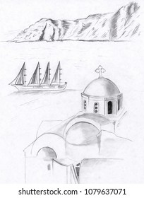 Illustration drawing sketch of a building and views of santorini greece