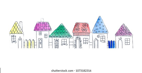 Illustration drawing of a watercolor multicolored house of different shapes and sizes isolated