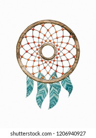 Illustration of an dream catcher watercolor painting