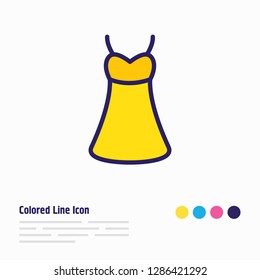 illustration of dress icon colored line. Beautiful clothes element also can be used as sundress icon element.