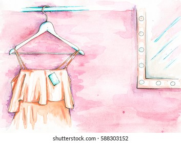 Illustration. Dress on a hanger near the mirror, Nude color. Drawn watercolor.