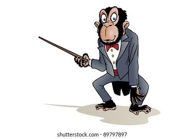 illustration of a dressed chimpanzee like business man pointing white blank white background