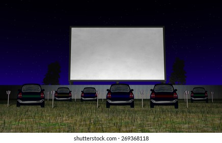 Illustration of a drive in movie theater with blank screen for message