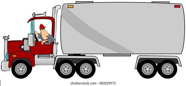 Illustration of a driver looking back while reversing his tanker trailer.