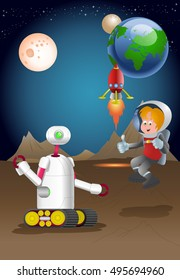 illustration of a droid robot guarding male astronout exploring planet on space background