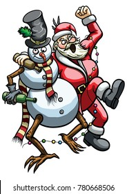 Illustration a drunk Snowman and rowdy roaring Santa Claus hugging