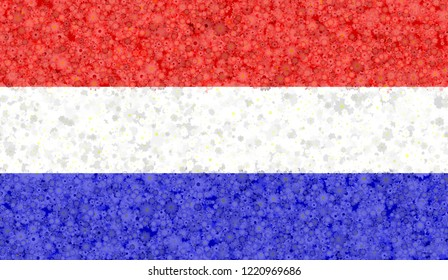 Illustration of a Dutch flag with a blossom pattern