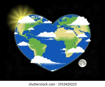 An illustration of the earth in space distorted into a heart shape.  The sun sets over the west side and the moon rises over the east.