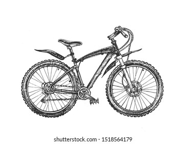 illustration of ecological extreme transport set. Sport mountain hardtail or full-suspension bike, rover or bicycle. Vintage hand drawn style.