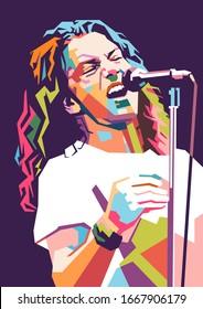 Illustration of Eddie Vedder perform on stage, modern pop art portrait.