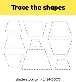 illustration. Educational tracing worksheet for kids kindergarten, preschool and school age. Trace the geometric shape.  Dashed lines. Trapezoid.