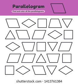 illustration. Educational worksheet for kids kindergarten, preschool and school age. Geometric shapes. Rhombus, parallelogram, triangle, square, trapezoid. Find and color