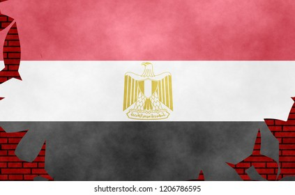 Illustration of an Egyptian flag, imitation of a painting on the cracked wall