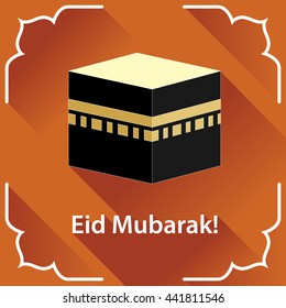 Illustration of Eid Mubarak background with Kaaba. Eid al-Adha greeting card. Flat style. Orange back.