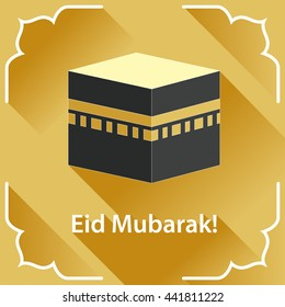 Illustration of Eid Mubarak with Kaaba. Eid al-Adha greeting card. Flat style. Golden back. Mecca symbol.
