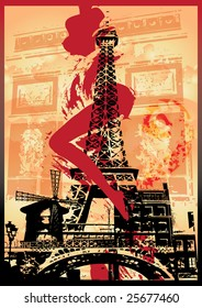 illustration of Eiffel Tower with sexy woman`s leg